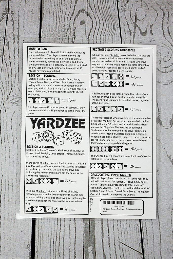 picture relating to Yardzee Score Card Printable titled YARDZEE Rating CARD with Recommendations upon the back again- Laminated Yardzee