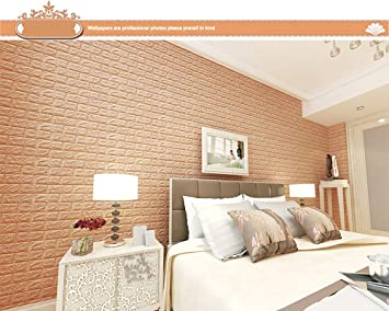 3D Foam Brick Wallpaper Brick Wall Sticker Self Adhesive Panels Room Decal  Khaki Makaor