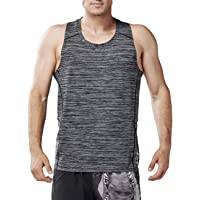 HUGE SPORTS Men's Tech Stretch Performance Y-Back Quick Dry Tank Top for Bodybuilding Gym Fitness Workout Athletic Training Running Jogging Muscle Sleeveless Shirts