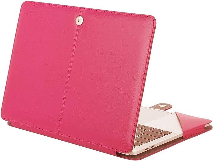 Imagen deMOSISO PU Funda Protectora Compatible con 2019 2018 2017 2016 MacBook Pro 15 Pulgadas USB-C A1990 A1707, Superior Cubierta de Libro de Calidad Folio con Función de Soporte, Rosa Rojo