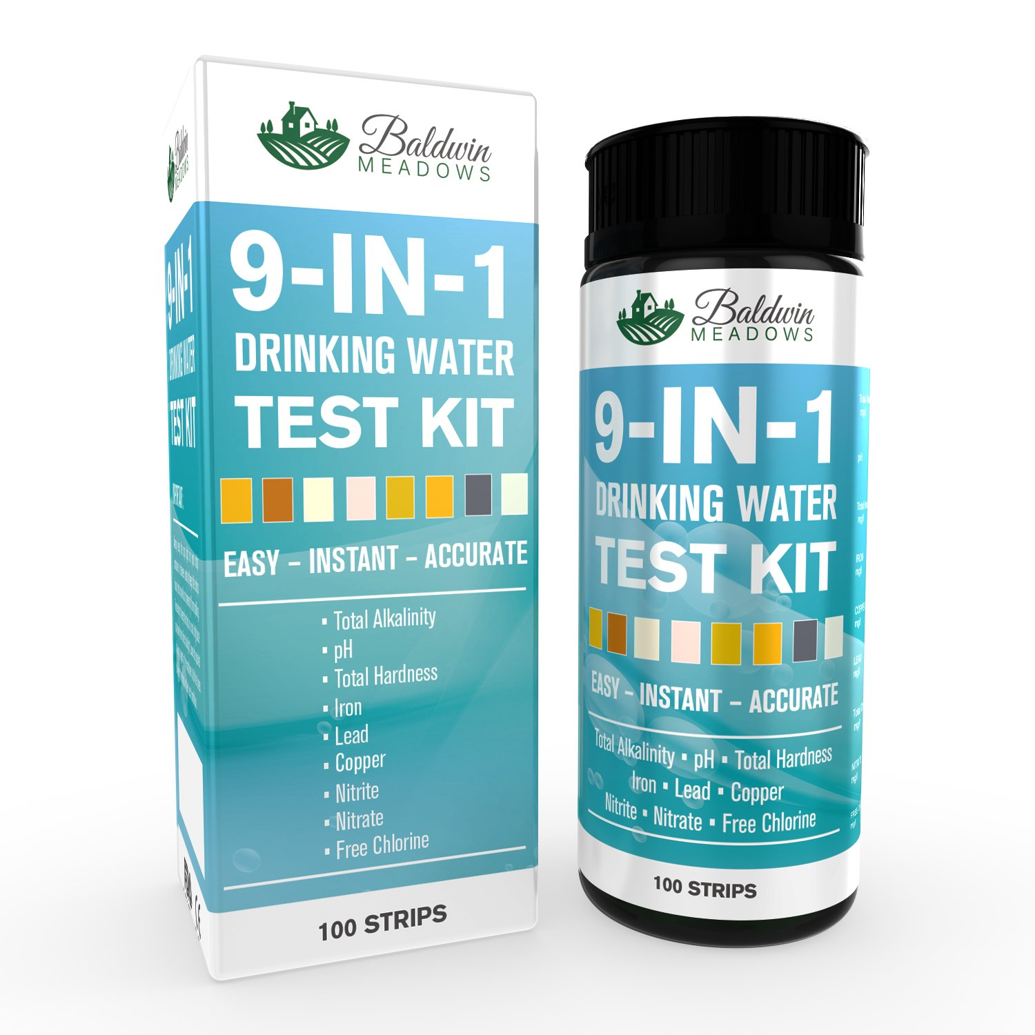 Drinking Water Test Kit 9 in 1 - Best Water Quality Test for Well Water and Tap Water - Determines pH - Lead - Total Hardness - Copper - Alkalinity & More - 100 Ct - Accurate Results in Seconds!