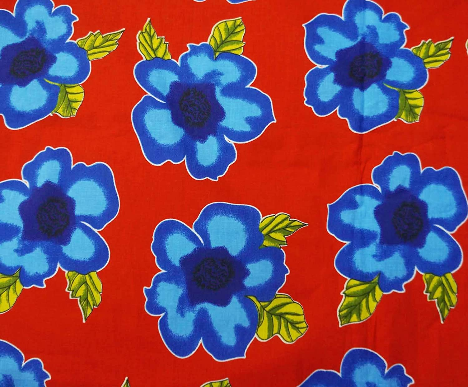 Indianbeautifulart Opaque Pure Cotton Fabric 42 Wide imprimé floral Rouge Artisanat Tissu par le chantier