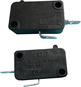 KW7-0 2Pins 16A 125V/250VAC 1NO Electric Microswitch Micro Switches for Microwave Oven Welding Gun Induction Cooker, 6-Pack
