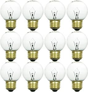 Sunlite 40G16/CL/MED/12PK 40W Incandescent G16 Globe Light Bulb Medium (E26) Base (12 Pack), Crystal Clear