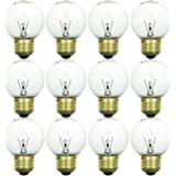 Sunlite 40G16/CL/MED/12PK 40W Incandescent G16 Globe Light Bulb Medium (E26) Base (12 Pack), Crystal Clear