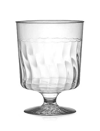 Amazon.com: Fineline Settings Flairware Clear 8 oz. One Piece Wine ...