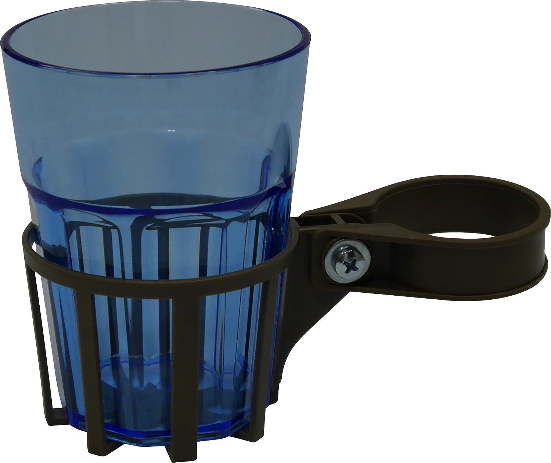 Angerer Porta Bevande per Dondolo con Tubo Quadrato Grigio Bicchiere Blu