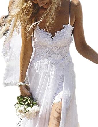 b6a79480fa2 Veilace Women s Beach Wedding Dress Backless Spaghetti Sheath High Split  Lace Applique Chiffon Bridal Gowns .
