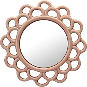 Stonebriar Dusty Rose Decorative Round Pink Cutout Ceramic Wall Hanging Mirror