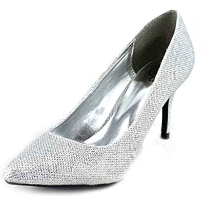 1.4.3. Girl Womens Owanda Pointed Toe Classic Pumps, Silver, Size 8