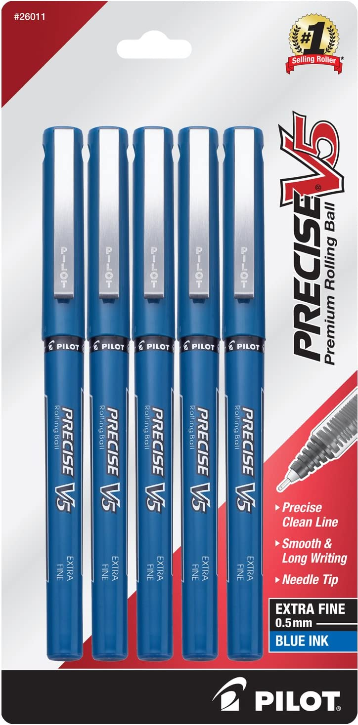 PILOT Precise V5 Stick Liquid Ink Rolling Ball Stick Pens, Extra Fine Point (0.5mm) Blue Ink, 5-Pack (26011): Office Products
