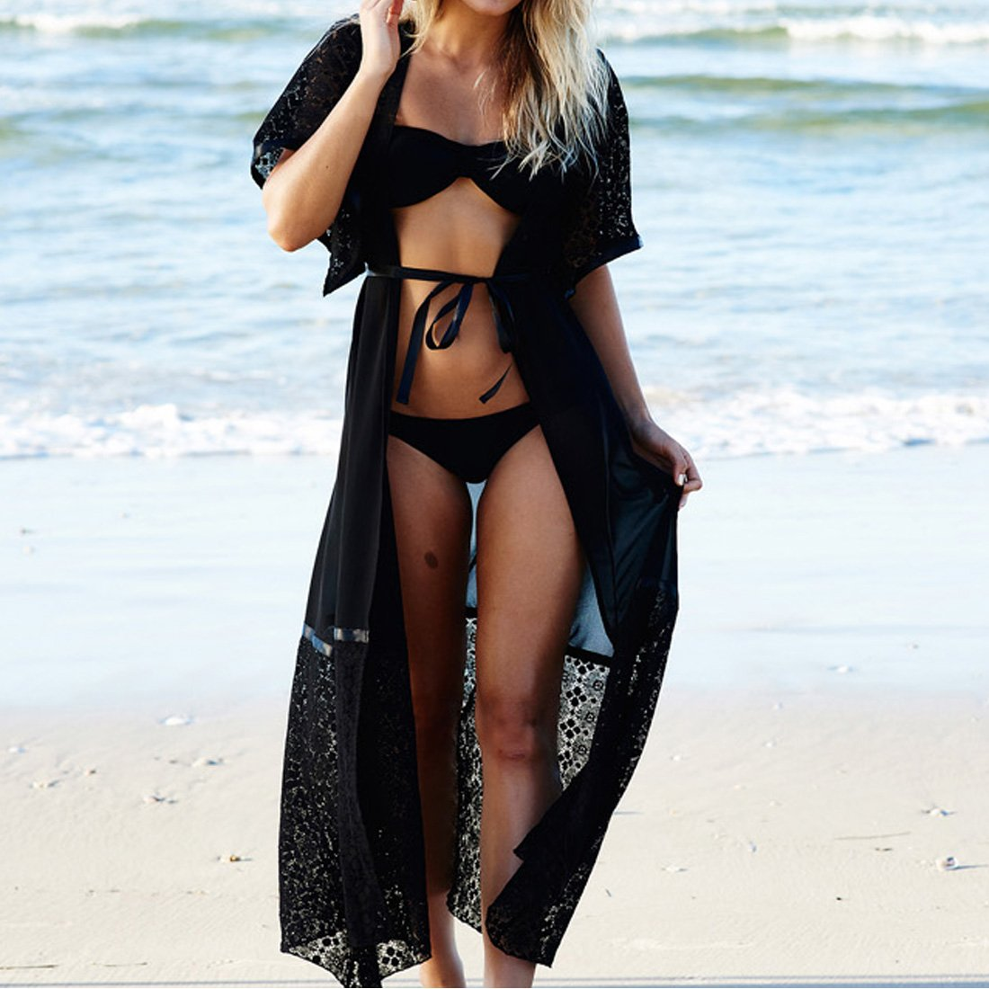 DorkasDE Damen Strandkleidung Schwarz Kaftan Spitzenj/äckchen Klimaanlage Kittel Bikini Vertuschung Beach Cover Umhang