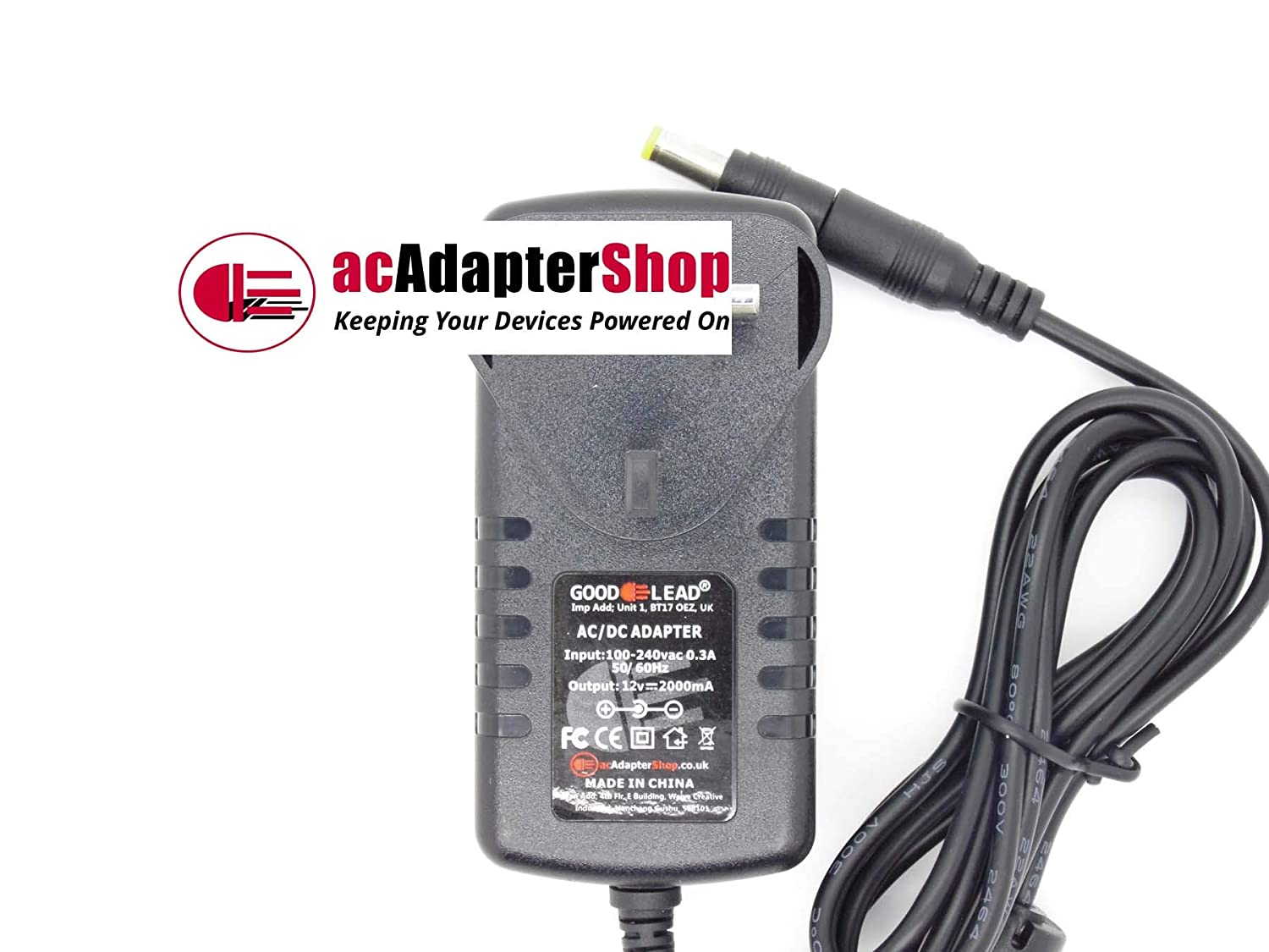 GOOD LEAD 12V YAMAHA PSR240 PSR73 PSS380 KEYBOARD ACDC Switching Adapter CHARGER PLUG