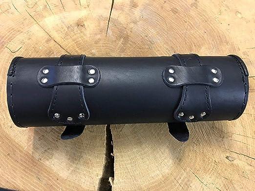 Orletanos Lenkerrolle Negro Compatible con HD Cuero Aut/éntico Coj/ín Cil/índrico de Cuero Rollo Rollo Herramienta Rueda de Arco Cuero Chopper Reforzado Bolso de Moto Bolsa de Motocicleta