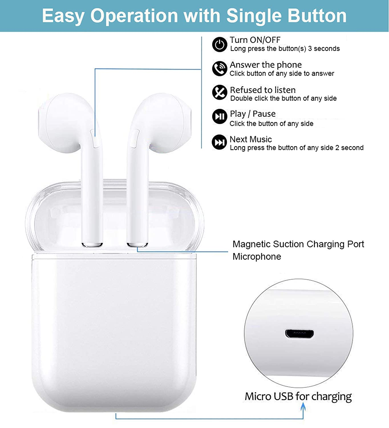Bluetooth 5.0 Earphones Mini In-ear Earbuds Earphones with Built-in Mic Portable Charging Case Compatible with iOS and Android Wireless Headphones TWS