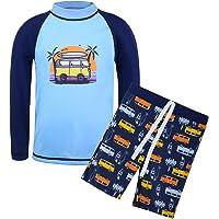 TFJH E Kids Boys UPF 50+ UV Swimwear Sun Protective Long Sleeve Two Piece Swimsuit