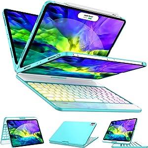 Keyboard Case for iPad Pro 11 2020/2018 (1st/2nd Generation) - 360 Rotate - 17 Color Backlit - Wireless/BT - Auto Sleep Wake iPad Pro 11 Case with Keyboard, Compatible with Apple Pencil,Tiffany Blue