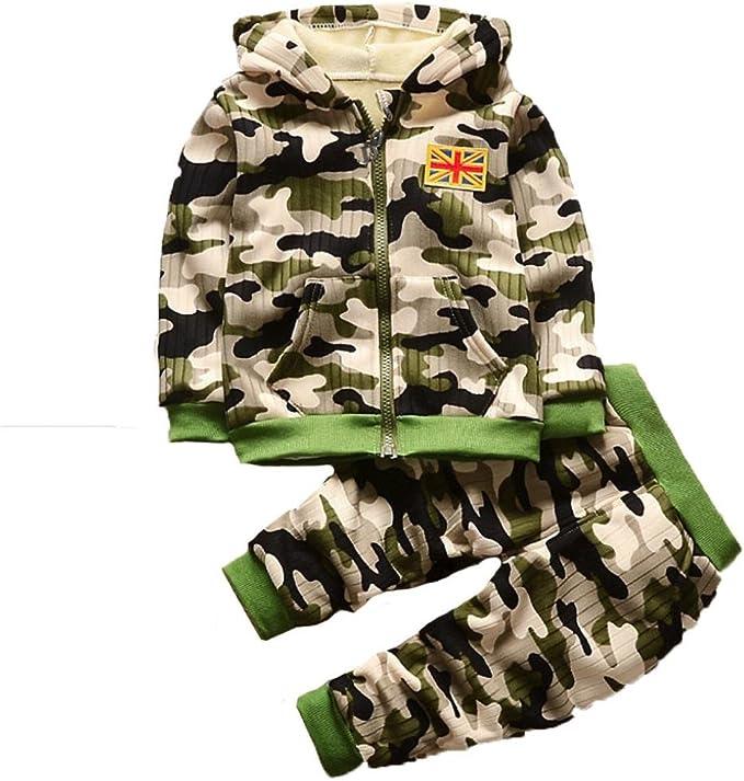 3 A/ños Beb/é ni/ño ni/ña Camuflaje Tops Ropa de Conjunto Ropa Caliente Outwear 3 Mes Ropa ni/ño Oto/ño Invierno