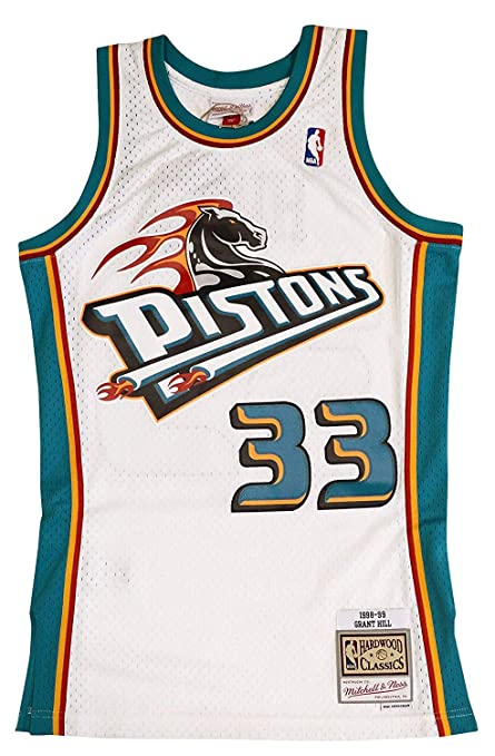 0351c31f4754 Mitchell   Ness Detroit Pistons Grant Hill 1998 Throwback Swingman Jersey  White (Small)