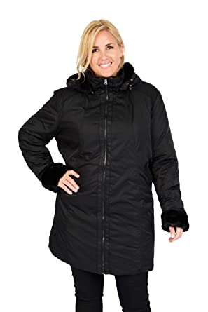 96c5e34886dbf Excelled Women s Plus Size Tech Poly Walking Coat with Faux Fur Trim ...