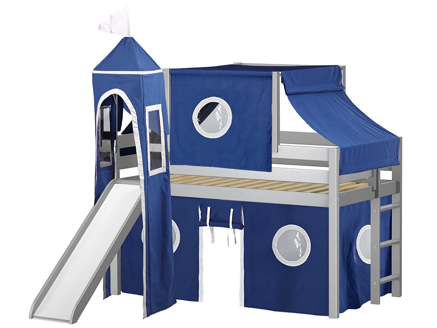 JACKPOT! Castle Low Loft Bed with Slide Blue & White Tent and Tower, Loft Bed, Twin, Gray Maxwood
