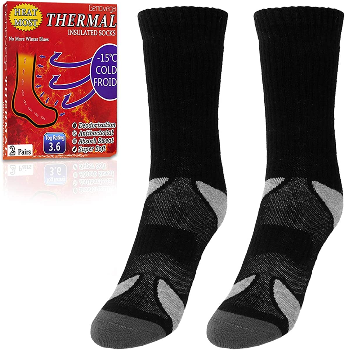 2 Pairs Thermal Socks for Cold Winter, with Thick Soft Warm Fuzzy Lined
