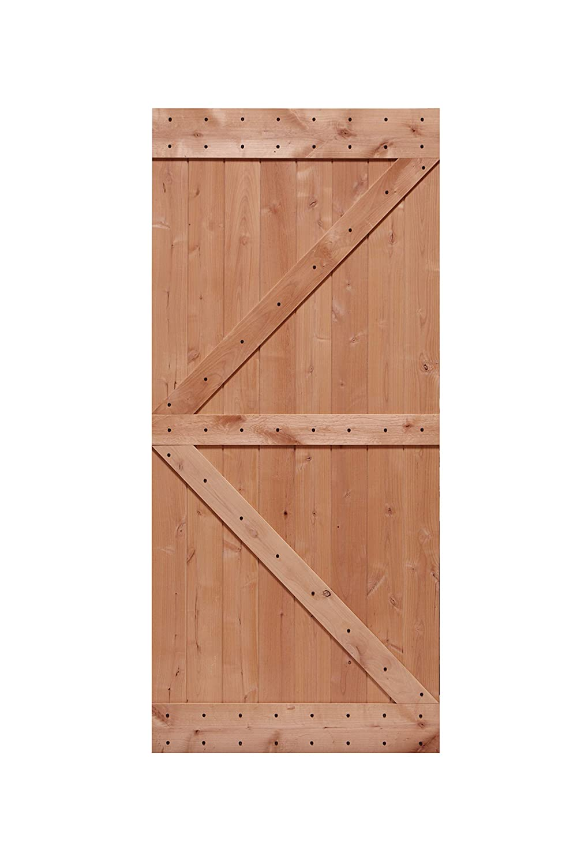 x 84 in LUBANN 24 in Rustic British-Brace Hardwood Barn Door Unfinished Knotty Alder Solid Wood Barn Door Slab