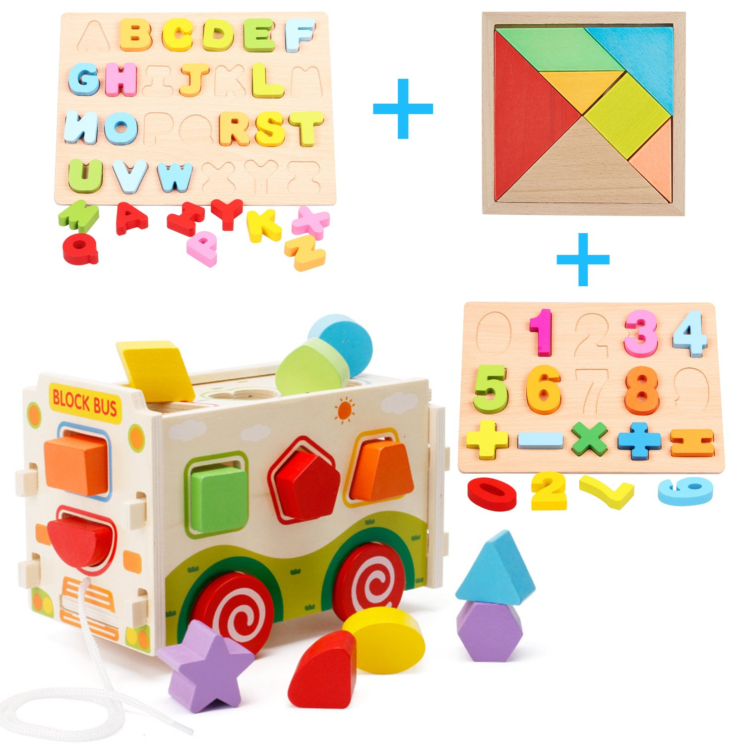 Cool Bank Wooden Shape Sorter Bus with Tangram & Number Puzzle Board & Alphabet Puzzle Board, Classic 3D Push Pull Truck Toy for Toddlers & Baby Color Recognition and Geometry Learning