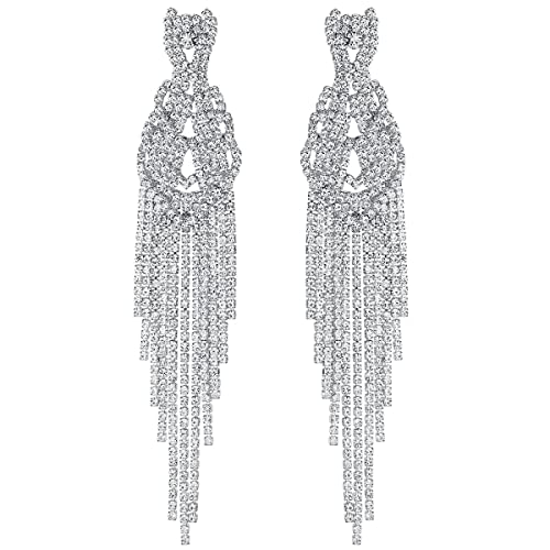 5faf886f9 mecresh Clear Long Tassel Dangle Earrings, Sparkling Crystal Rhinestone  Boho Wave Earring for Wedding