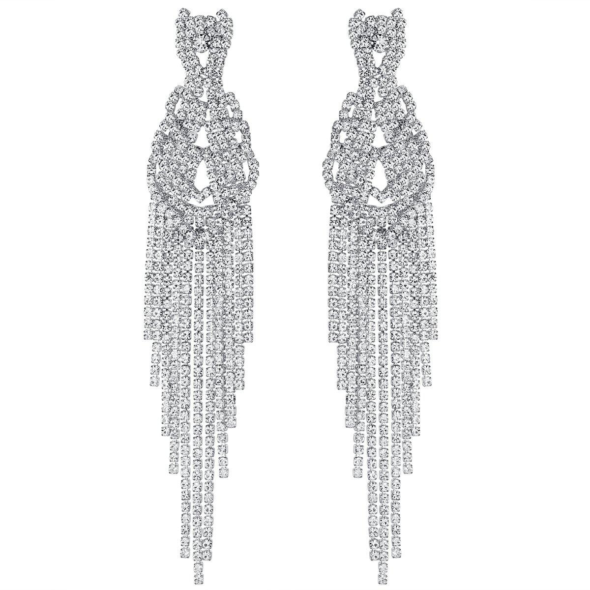 mecresh Silver Bridal Big Long Tassel Wedding Drop Earring Jewelry