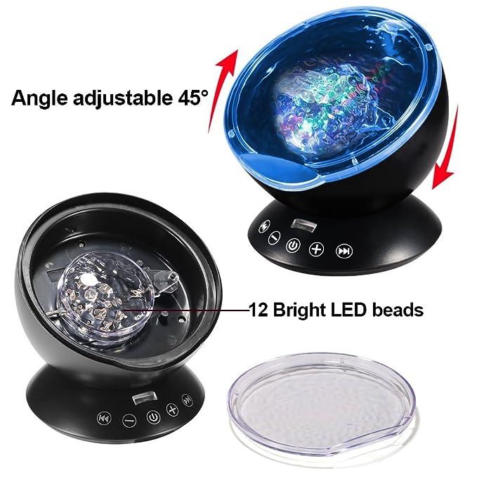 ALFALED Lámpara Proyector LED de Luz Océano 12 LED y 7 Modos Control Remoto Reproductor de Música Luz Noche Giratoria