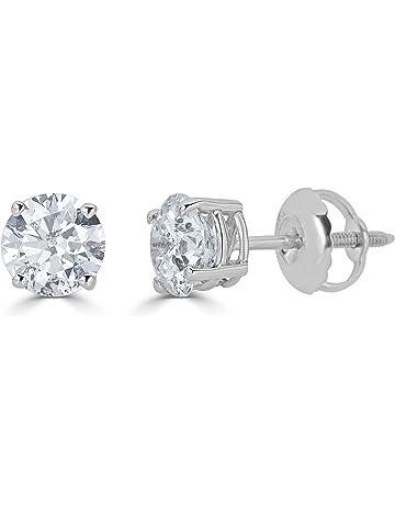 e24363c7452c3c 14K Gold Round-Cut Diamond Stud Earring (1/4 - 2 cttw,