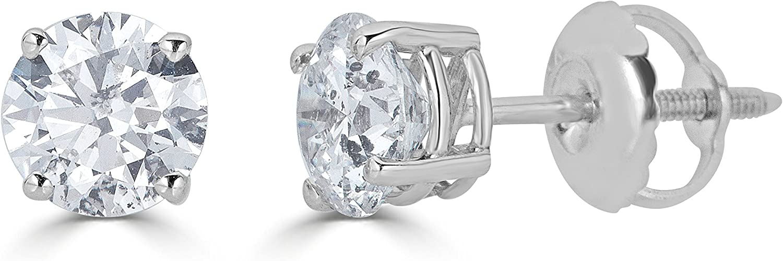 Details about  /1.00 Carat Round Cut Diamond Stud Earrings 14K Rose Gold Enhanced Screw Back