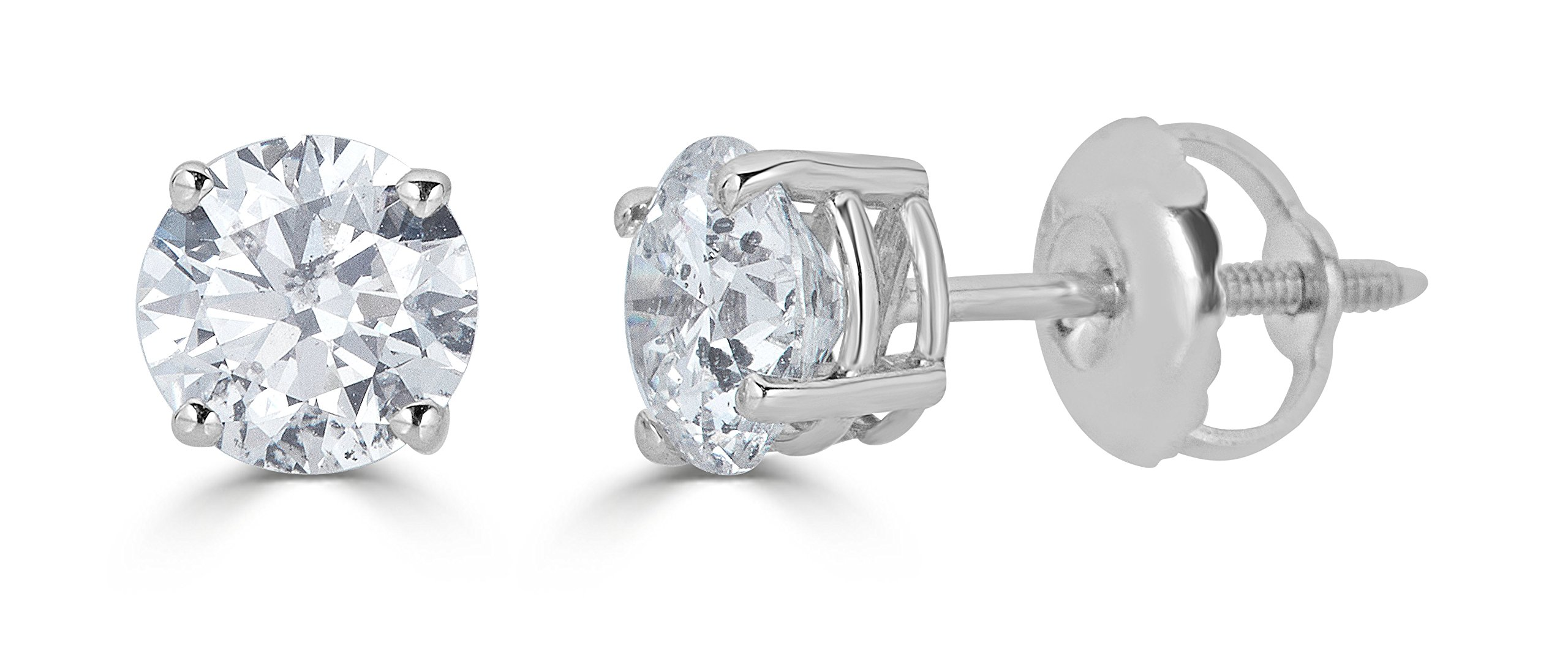 14k White Gold Round-Cut Diamond Stud Earrings (1/3cttw, J-K Color, I2-I3 Clarity) by Amazon Collection