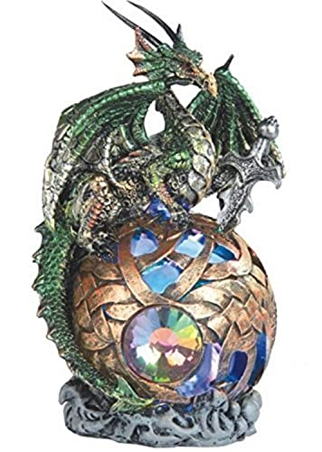 StealStreet Sitting Dragon On Light Up Led Orb Statue Display, Green, 6