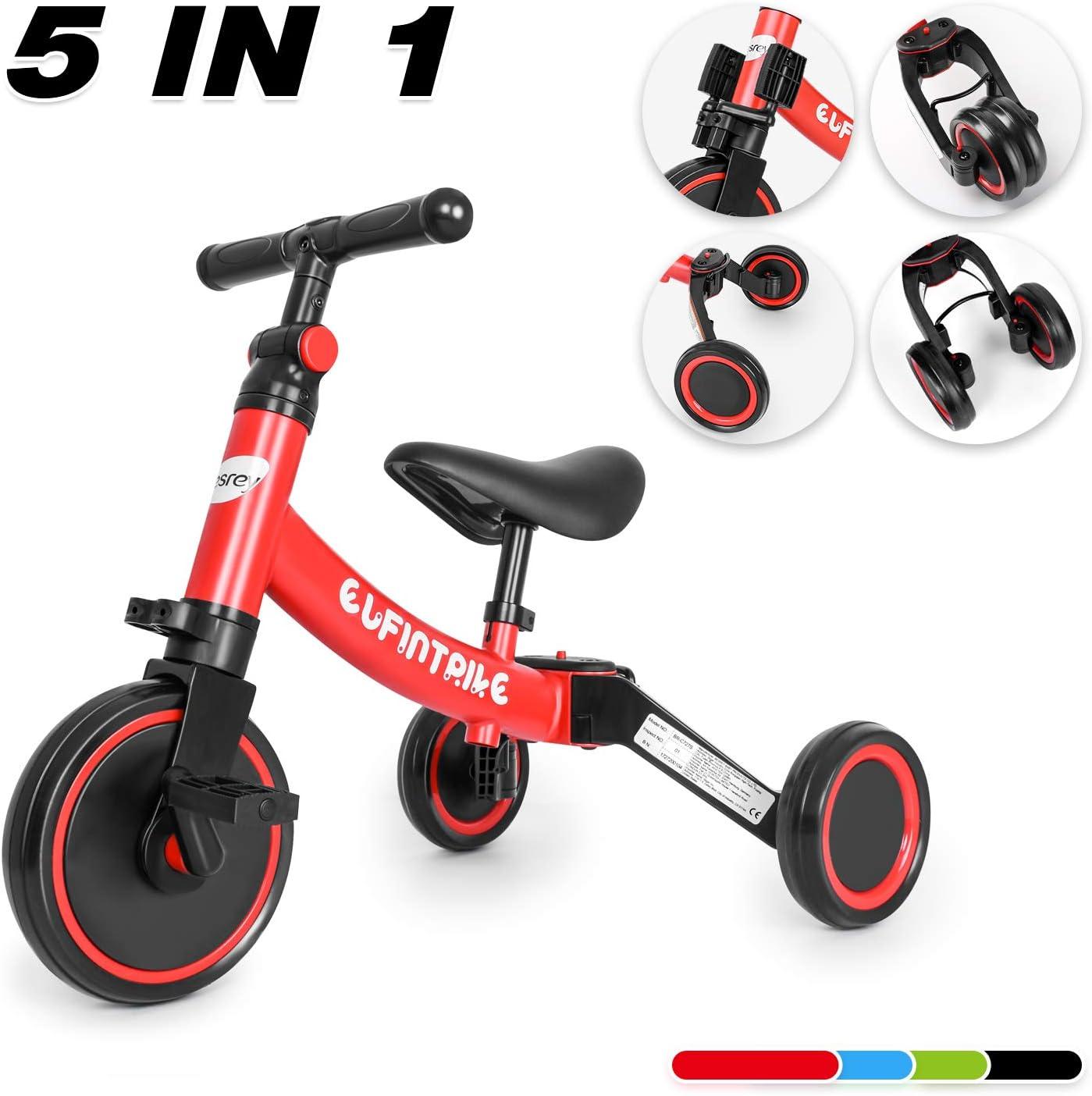 besrey Tricilos para Niños, 5 en 1 Un Bici polivalente, Triciclo & Bicicleta & Carro de Equilibrio & Caminante, 2.8kg Ligero y portátil, Adecuado para niños de 1.5-4 años (Princesa roja) …