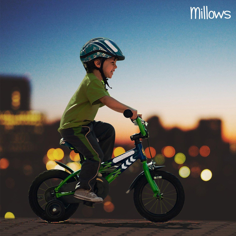 I f/ür Kinderwagen 30 teiliges Set Reflektoren Aufkleber Sticker 30 St/ück Helm und Schulranzen I selbstklebende hochreflektierende Leuchtaufkleber Millows Fahrrad