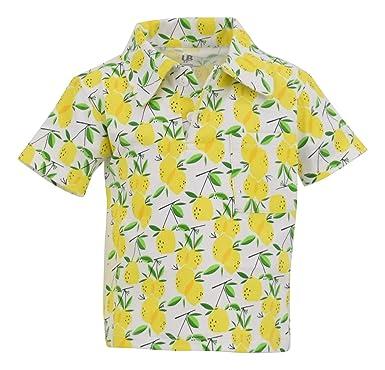 5c8033bc Amazon.com: Unique Baby Boys Lemon Print Short Sleeve Collared Polo ...
