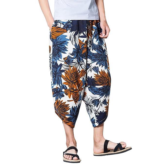 Zhuhaitf playa Cool Lino pantalones Bottoms Boho Printing Hippie Baggy harén Pants para Hombres Adolescentes Verano