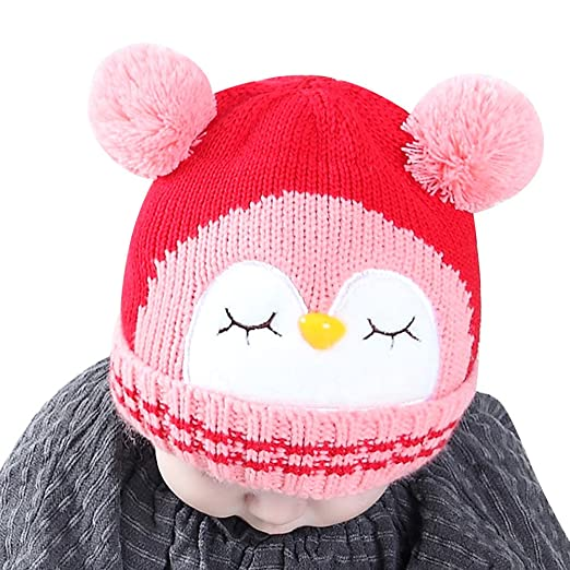 c52a1f341cc Amazon.com  IMLECK Kids Cute Cartoon Owl Winter Hat Toddler Warm Beanie Hat  - Fits 3 Months Old to 2 Years Old  Clothing