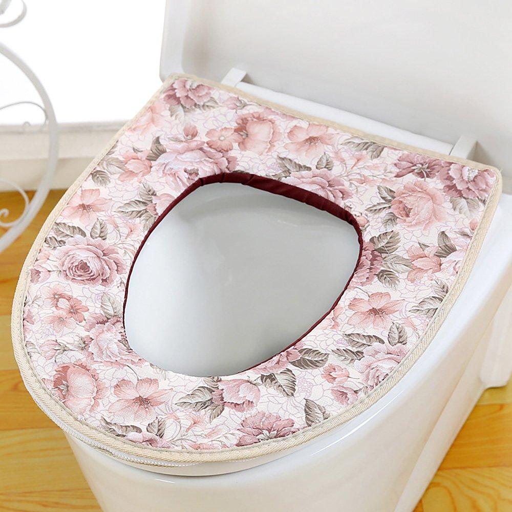 Badausstattung Ya Jin 2Leinen Pastoral Style Badezimmer WC-Sitz waschbar Wärmer Matte Cover für alle Saison WC-Sitze