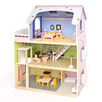 Wooden Large Supreme Tall Town Doll House With Furniture And Lift