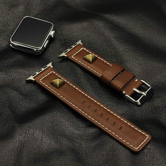 Bestow Correa de Reloj de Cuero Hebilla de Cuero Correa de Correa de Correa de Reloj de Pulsera para Reloj para Apple(café): Amazon.es: Ropa y accesorios
