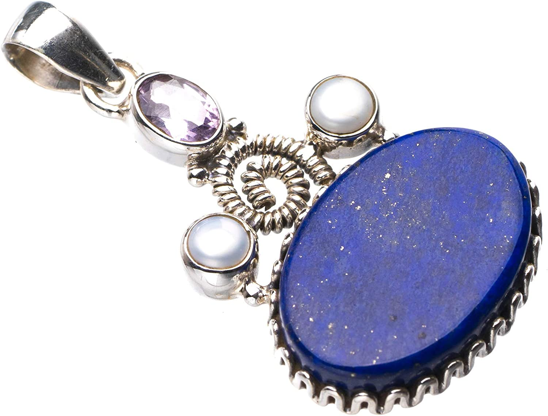 StarGems E0307 - Colgante de plata de ley 925 con lapislázuli natural, perla de río y amatista