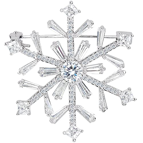 Charming EleQueen Womenu0027s Silver Tone Full Zircon Winter Snowflake Art Deco Brooch  Pin Clear