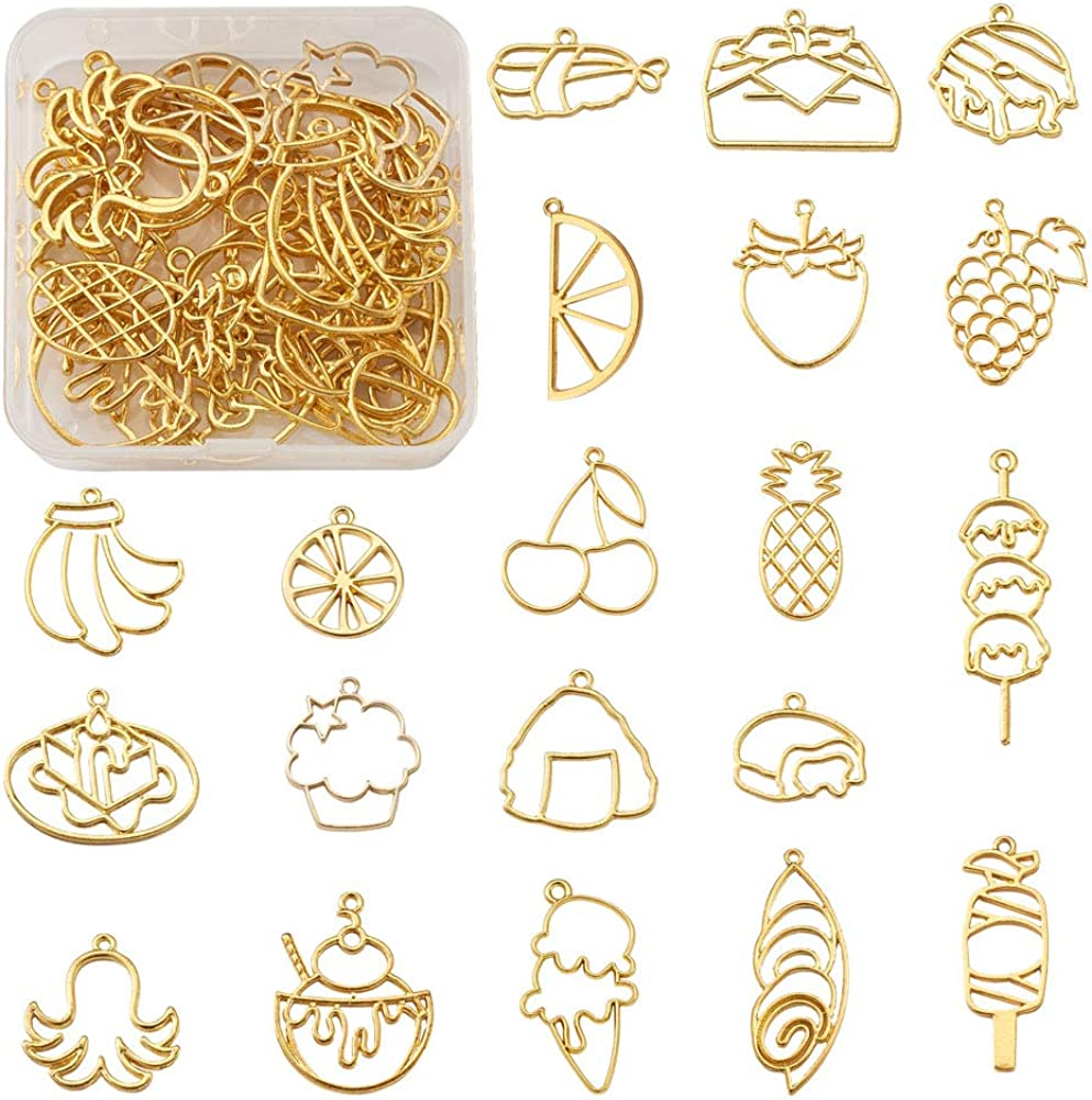 Cheriswelry Assorted Gold Alloy Open Back Bezel Pendants Flower Leaf Heart Metal Dangle Charms Hollow Frame Mold Pressed Flower Pendants for DIY Craft Necklace Jewelry Making