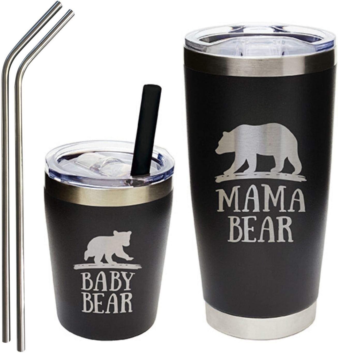 Mama Bear Rose Gold Glitter Dipped Travel Tumbler 20oz SkinnyRegular Curve Tumbler wLid and Reusable Straw