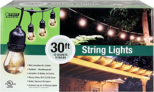 FEIT ELECTRIC 72041 30 Foot Heavy-duty Weather resistant Decorative indoor and outdoor 10 Sockets Incandescent String Lights, 30 , 11W, Dimmable,Black