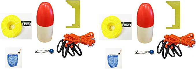 100 Poly Rope with Line Weight, Clipper, Bait Bag /& 11 Float KUFA Vinyl Coated Crab Trap Accessory Kit
