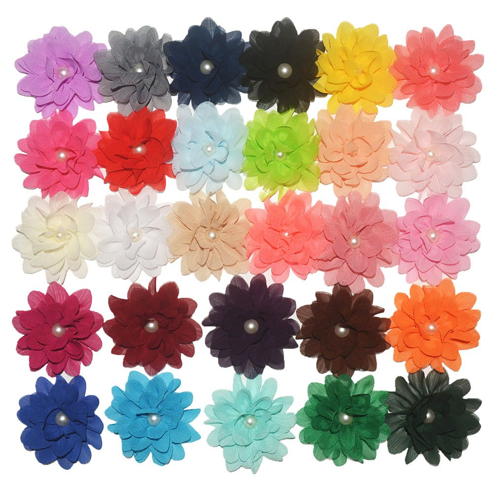 PET SHOW 28pcs Pack 3.2'' Dog Collar Flowers Accessories for Small Dogs Cats Collar Charms Bows Decoration